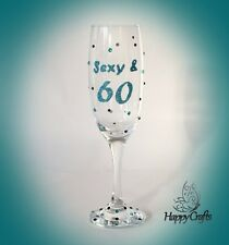 Glitter Sparkle 60th Birthday Champagne Flute Sixty & Sexy Glass Teal
