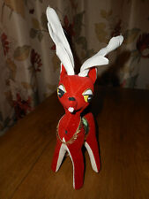 Vtg Red Felt Velvet Christmas Reindeer Sawdust Stuffed Plush Large Deer Japan