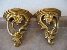 "Pair of Vintage Ornate 9"" x 9"" x 4.5"" Gold Plastic Syroco  #3507 Wall Shelf"