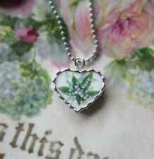 Vintage Recycled Broken China~Sweet Lily of the Valley~Charm~Heart~Necklace