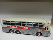 "REDUCDED Trailways Eagle 05 Tinplate Lithograph Silver Eagle 14"" Friction Bus"