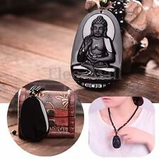 Black Natural A Obsidian Carved Buddha Pendant Giving Head Necklace Rope Gift