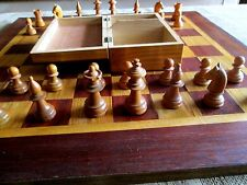 Vintage c1920`s STAUNTON Hand Carved Chess Pieces Set In Original Wooden Box
