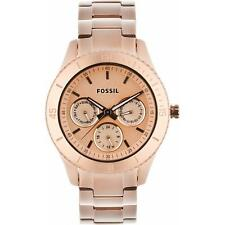 New Fossil Stella Multifunction Steel Rose Gold 24 Hours Watch 38mm ES2859 $125