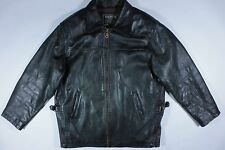 Vintage Style Oakwood Classic Motorcycle Biker Black Leather Jacket Coat M