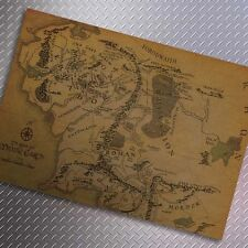House wall decoration middle earth map on lord of the rings movie paper poster