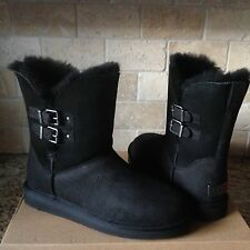 UGG Renley Black Water-resistant Leather Sheepskin Buckle Boots US 9 Womens