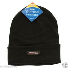 MENS BLACK BEANIE HAT STRETCHY KNITTED WINTER OUTDOOR SKIING WARM THERMAL