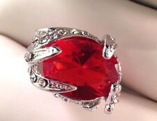 Vintage Cocktail Ring Ruby Red Glass Crystal Accents Rhodium Plate Size 6