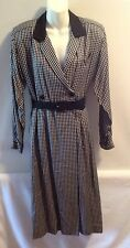Vintage Liz Claiborne Belted Dress, Long Sleeve, Black/White, Size 10
