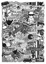A4 Size EURO Style BLACK & WHITE Vinyl Sticker Bomb Sheet JDM Drift Made In UK