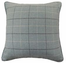 "BRAEMAR TARTAN CHECK PLAID WOOL LOOK FEEL DUCK EGG BLUE CUSHION COVER 17"" - 43CM"