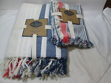 Farm To Table Linens Tablecloth 60x102 & 4 Napkins ~ Blue, Ivory & Red Stripe