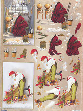 PRECUT CHRISTMAS LIST  PAPER TOLE DIMENSIONAL GERMANY CARD  ORNAMENT COLLAGE