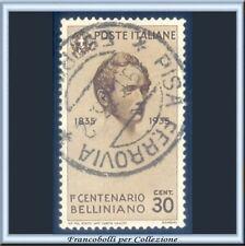 1935 Italia Regno Vincenzo Bellini cent. 30 bruno n. 389 Usato