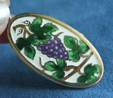Fine Antique SCB & Co Pristine Enamel Purple Grape Vines Photo Locket Necklace