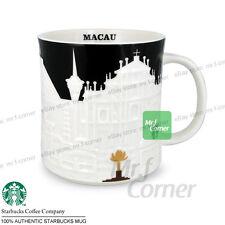 SM195 16oz starbucks China Macau city white relief cup mug NEW