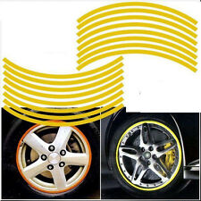 CAR ROUND WHEELS RIMS DECORATION DECALS STICKER YELLOW TRIM (17 inch WHEELS RIM)
