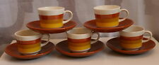 Mid Century Modern Hand Painted Portugal Porcelain Espresso Demi Tasse 10 Pc Set