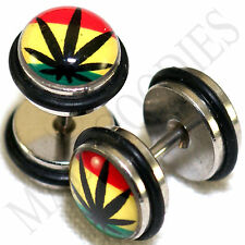 0100 Fake Cheater Faux Illusion 16G Plugs 0G 8mm Rasta Weed Pot Leaf Marijuana