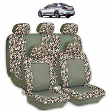 2 TONE GREEN CAMO HIGH QUALITY FRONT REAR SEAT COVERS 9PC SET FOR CARS 2763