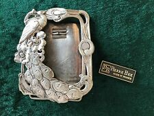 Genuine Pierre Bex Art Nouveau Silver Plate On Copper Picture Frame With Peacock