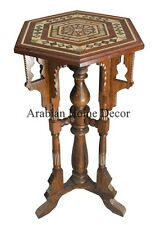 """28"""" Tall Egyptian Moroccan Mother of Pearl Inlaid Wood Occasional Side End Table"""