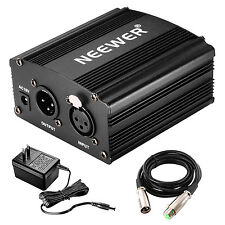 Neewer 48V Phantom Power Supply Black with Adapter and One XLR Audio Cable