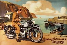 VINTAGE 1950'S TRIUMPH T100 MOTORCYCLES MOTORBIKE ADVERTISING A3 POSTER RE PRINT
