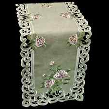 """Embroidered Pink Rose on Gray Linen Polyester Table Runner 16"""" x 45"""""""