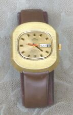 VINTAGE LARGE SOLAR SUPER AUTOMATIC 25J DAY DATE SOLID BRASS WATCH SWISS