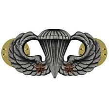 Army Badge Regulation Size Combat Parachute Second Award Silver Oxidized