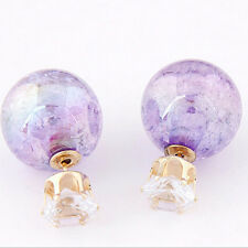 2pcs Women Candy Color Double Side Round Pearl Earrings Crystal Ball Ear Stud QW