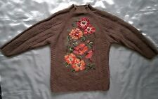 Vintage Laura Ashley Wool Jumper Floral Brown Pink Warm Oversized size 6 8 10 S