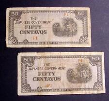 JAPANESE INVASION 2 BANK NOTES 1942 WWII PHILIPPINES MONEY FIFTY CENTAVOS LOT #3
