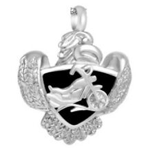 "Motorcycle On Shield With Eagle Cremation Jewelry Urn Pendant w/ 20"" LINK CHAIN"
