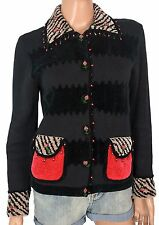 Vintage JACK B QUICK SWEATER Beaded Novelty Black Textured Wearable Art Petite S