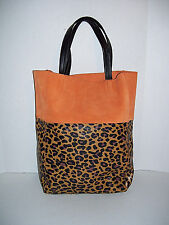 NEW - Divided by H&M - Suede & Leopard Faux Leather XL Tote Bag Handbag Shopper
