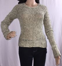 American Eagle Outfitters Teen Sweater Marled Green Gray Ivory Open Knit Top - L