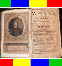 1692 FIRST-EDITION WORKS OF JOHN BUNYAN+MAP 1st-Ed Antique Bible Baptist Puritan