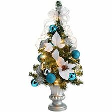 WeRChristmas 2 ft Pre-Lit Decorated Christmas Tree Table Decoration, Silver