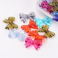 25 x Transparent Acrylic Beads Bowknot Ribbon Mixed Color 23mm x 29mm Hole1.5mm