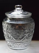 Clear Anchor Hocking Sandwich Glass Cookie Biscuit  Jar 9 1/2 Inches Tall