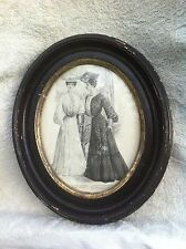 Vintage 1800s Primitive Wood Chalk  Oval Picture  Frame 8in x 10in