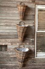 Willow Hanging Wall Basket~Lined Wall Pocket~Willow Door Basket~Large 18""