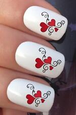 VALENTINES DAY NAIL ART #05 x16 LOVE HEART TRIO WATER TRANSFERS DECALS STICKERS