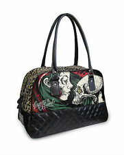 Liquor Brand Diamond Gypsy Skull Tattoo Punk Gothic Duffle Bowling Overnight Bag
