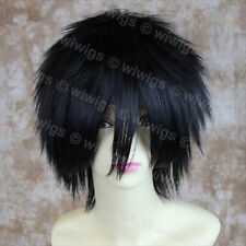 STRIKING Jet Black Man's Wig Short Spikey Style Lady Wig Cosplay Wig WIWIGS UK