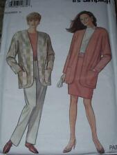 SIMPLICITY #7955 - LADIES BUTTONLESS JACKET & PULL ON PANTS-SKIRT PATTERN 6-24uc
