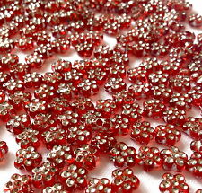 250  RED & SILVER RONDELLE FLOWER JEWELLERY MAKING PLASTIC BEADS 8MM  AB0041